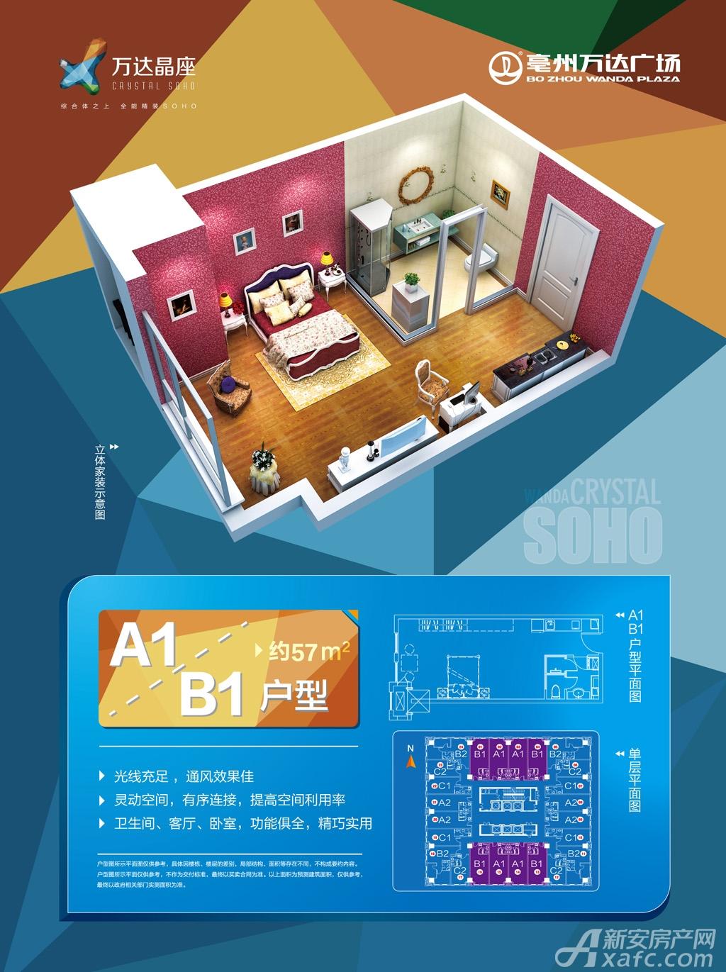 亳州万达广场精装soho A1/B1户型1室1厅57平米