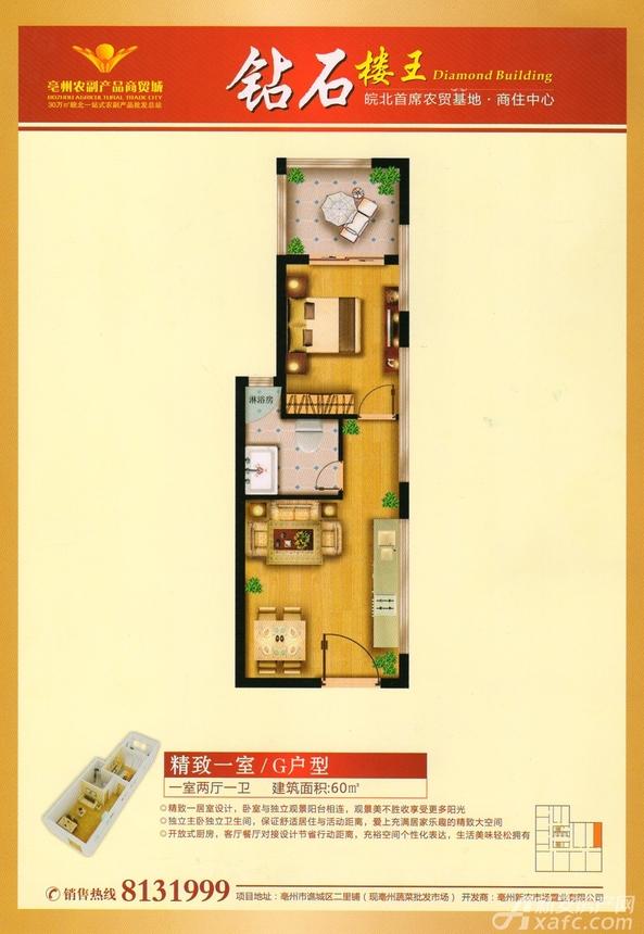 新农亳州农贸城G户型1室2厅60平米