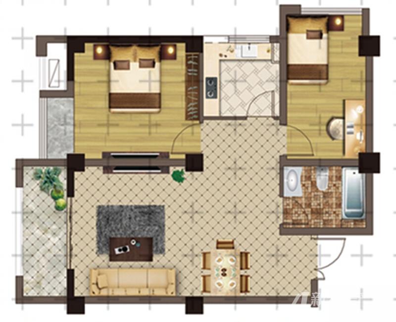聚唐南半球户型32室2厅86.63平米