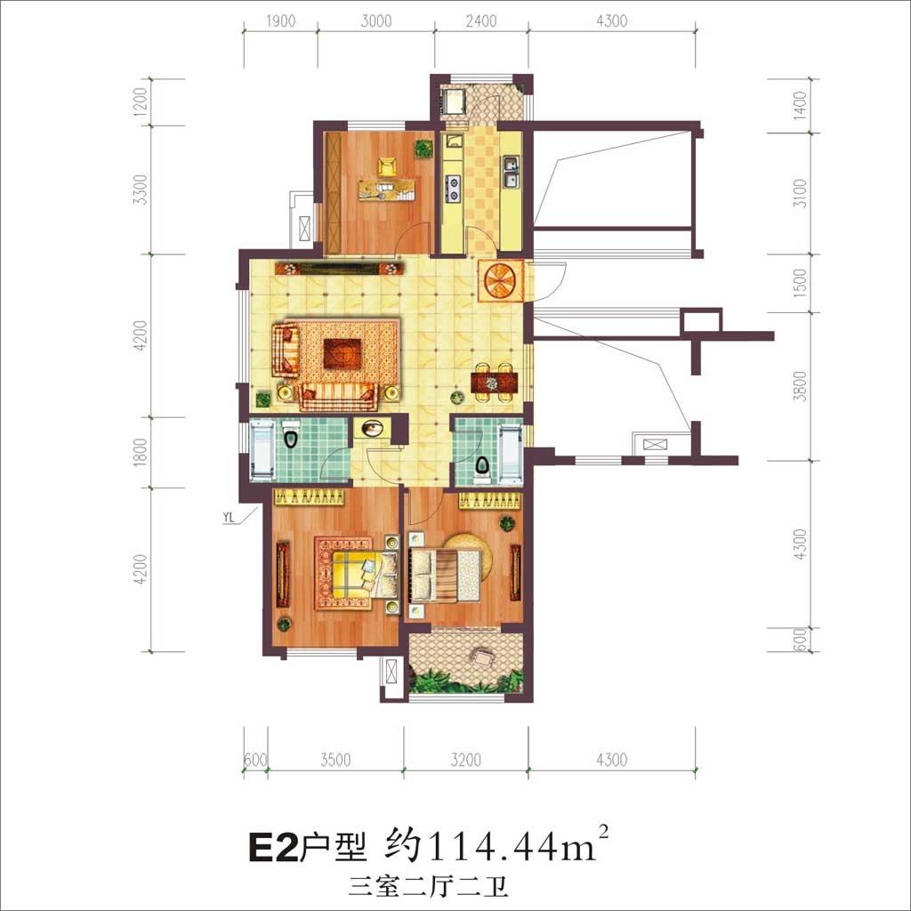 贝林阳江港湾贝林阳江港湾E2户型3室2厅114.44平米