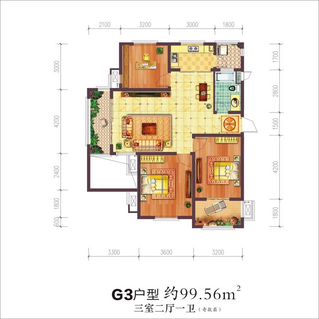 贝林阳江港湾G3户型3室2厅99.56平米