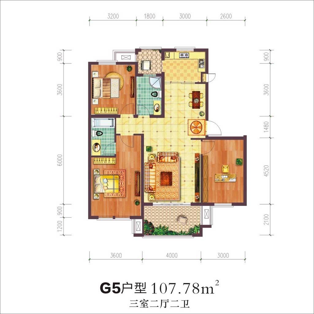 贝林阳江港湾G5户型3室2厅107.78平米