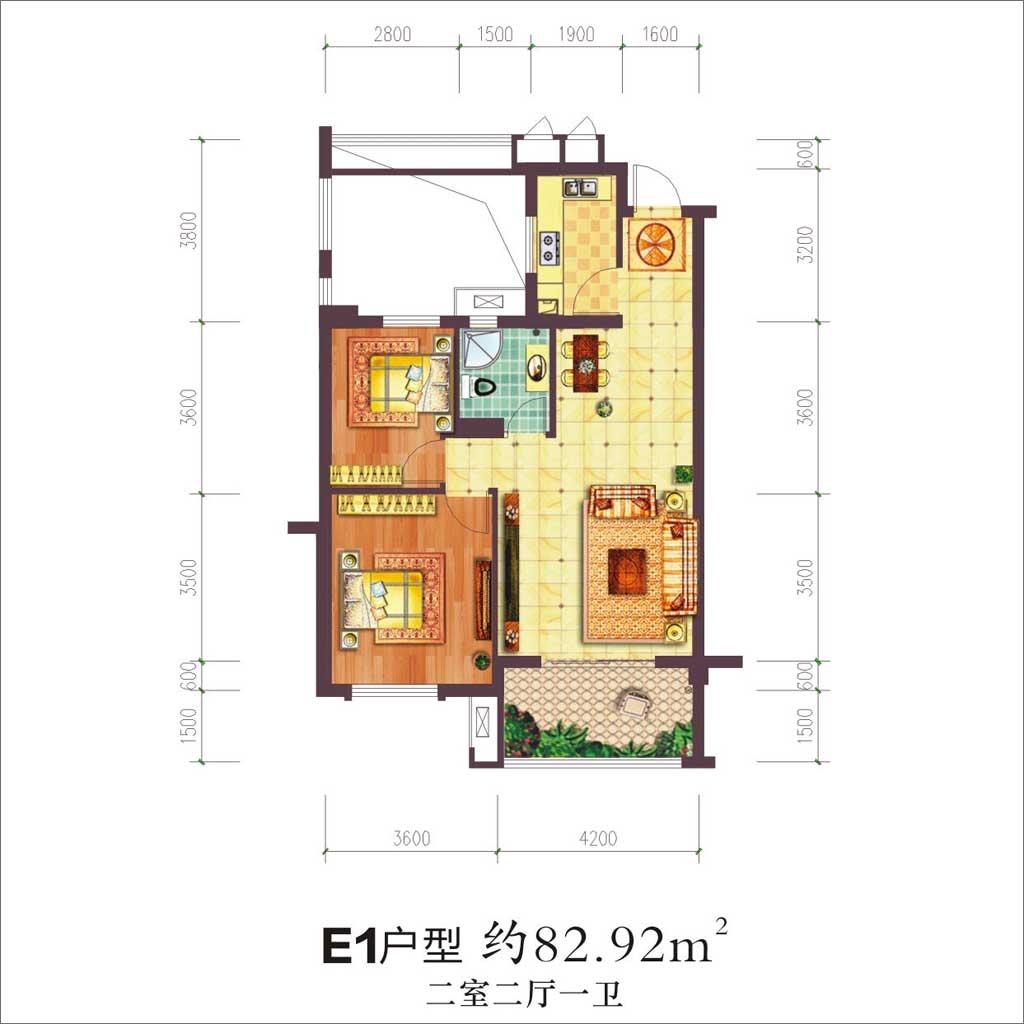 贝林阳江港湾贝林阳江港湾E1户型2室2厅83.92平米