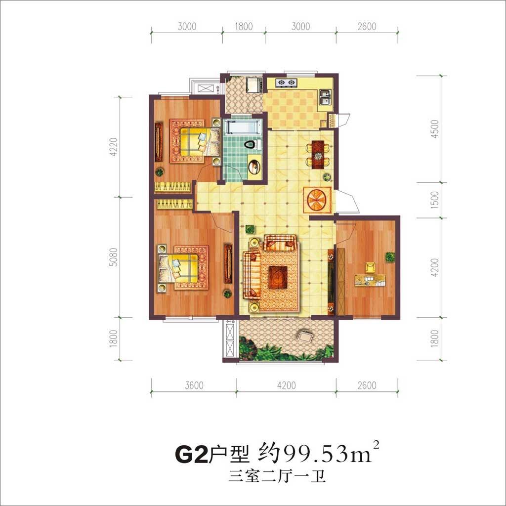 贝林阳江港湾贝林阳江港湾G2户型3室2厅99.53平米