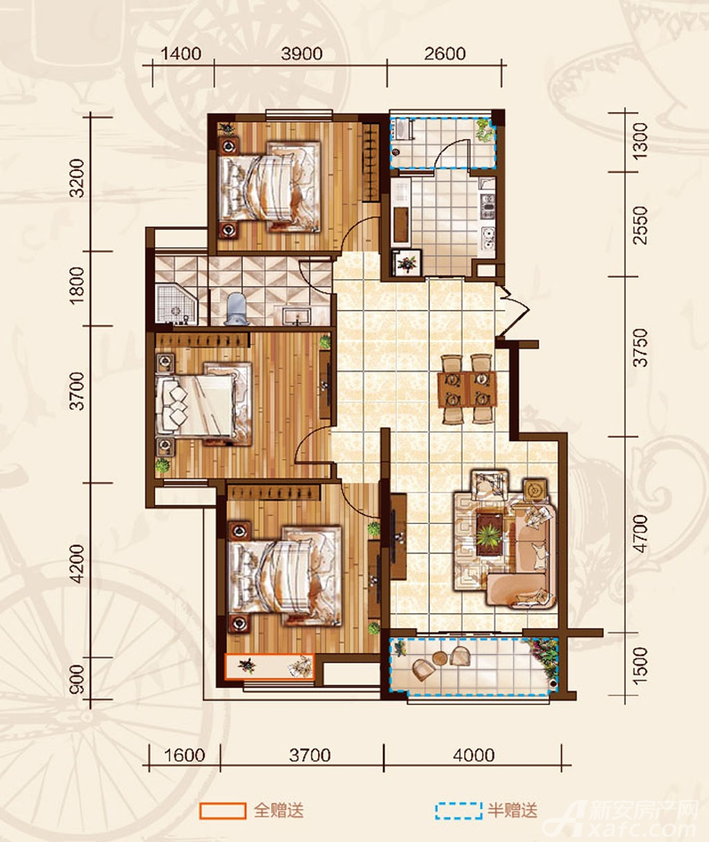 华府伊顿庄园GA户型3室2厅118平米