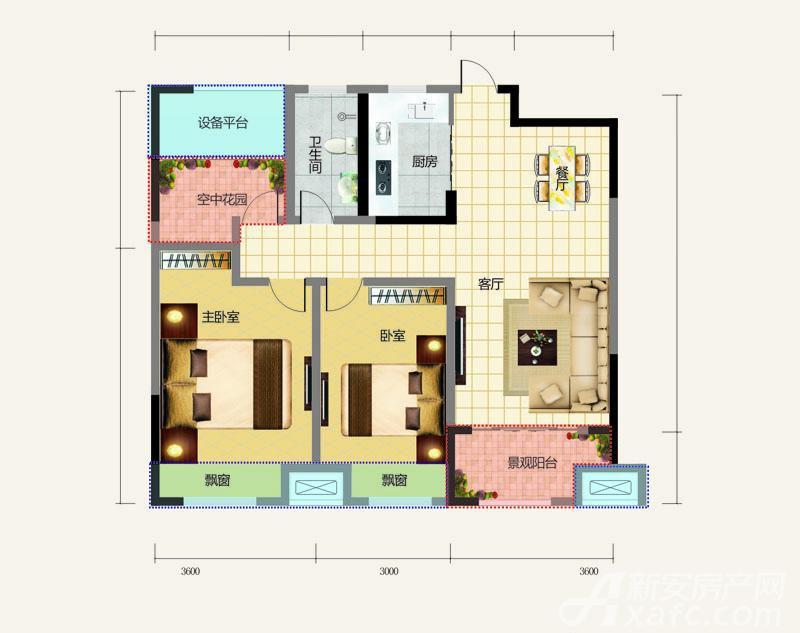 正基領尚城兩室兩廳一衛2室2廳90平米圖片