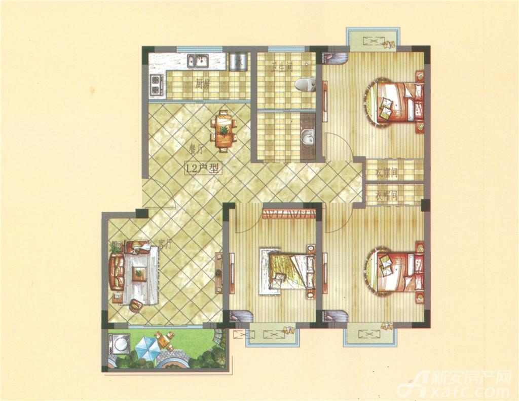 雍湖园L户型3室2厅100平米