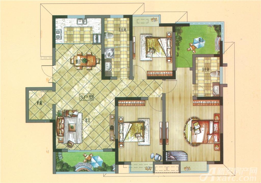 雍湖园S户型3室2厅126平米