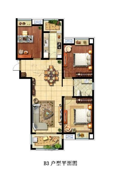 大唐菱湖御庭B3户型3室2厅117平米