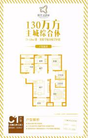 鹏欣水游城C1户型3室2厅106㎡