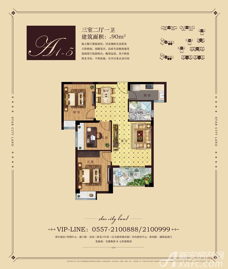 彼岸星城A1-5户型3室2厅90平米