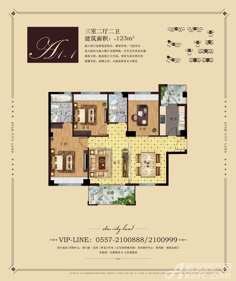 彼岸星城A1-1户型3室2厅123平米
