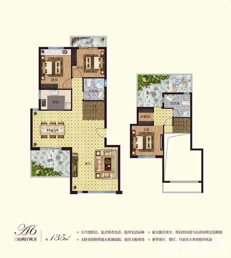 彼岸星城洋房A6-01户型3室2厅135平米
