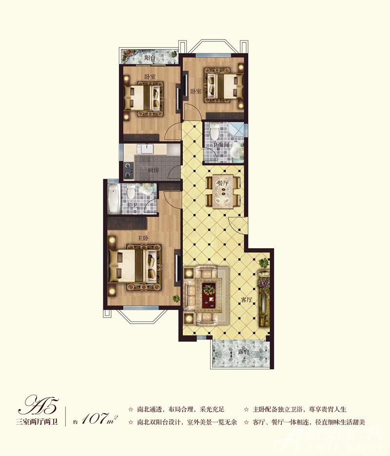 彼岸星城洋房A5-01户型3室2厅107平米