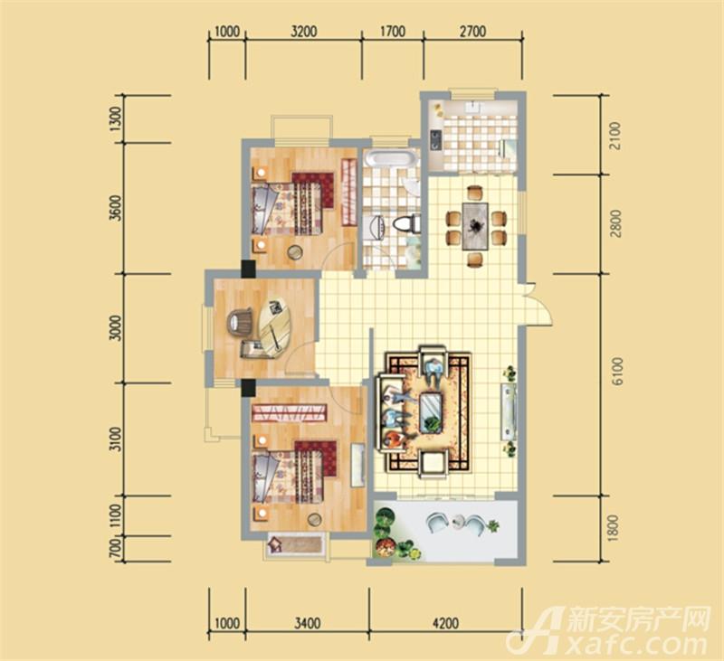永泉牡丹城S户型3室2厅112.04平米