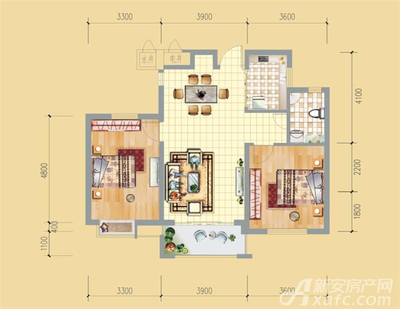 永泉牡丹城S2户型2室2厅93.27平米