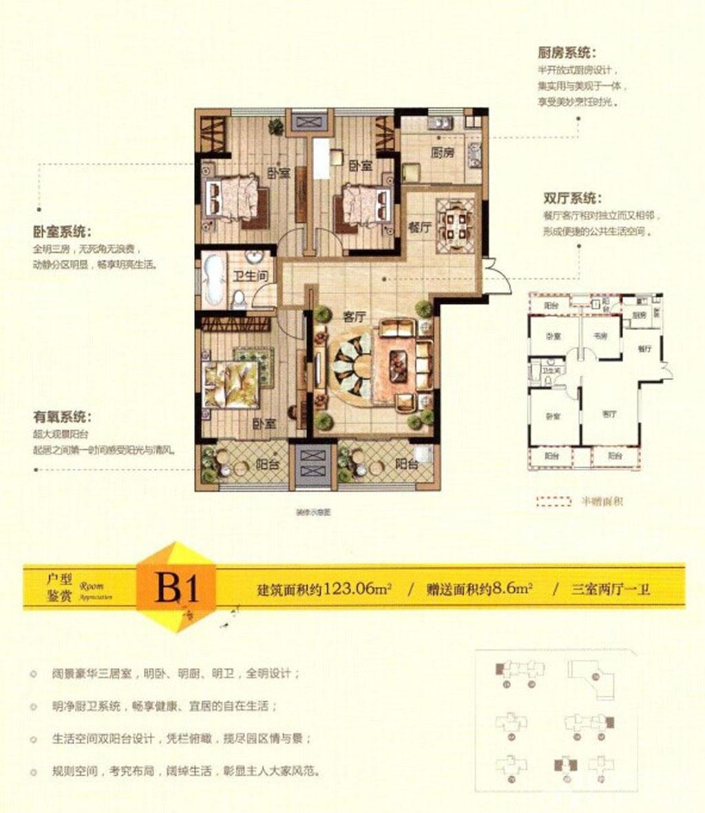 景徽国际B1户型3室2厅123.06平米