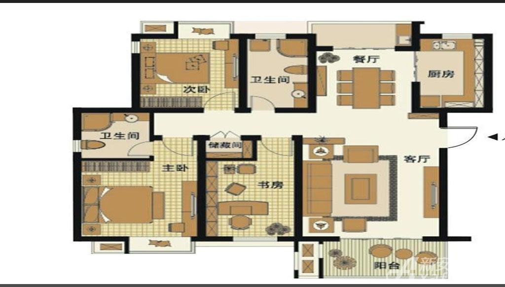 梅林国际D1户型3室2厅126.8平米