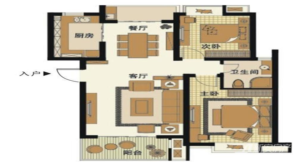 梅林国际D2户型2室2厅98.5平米