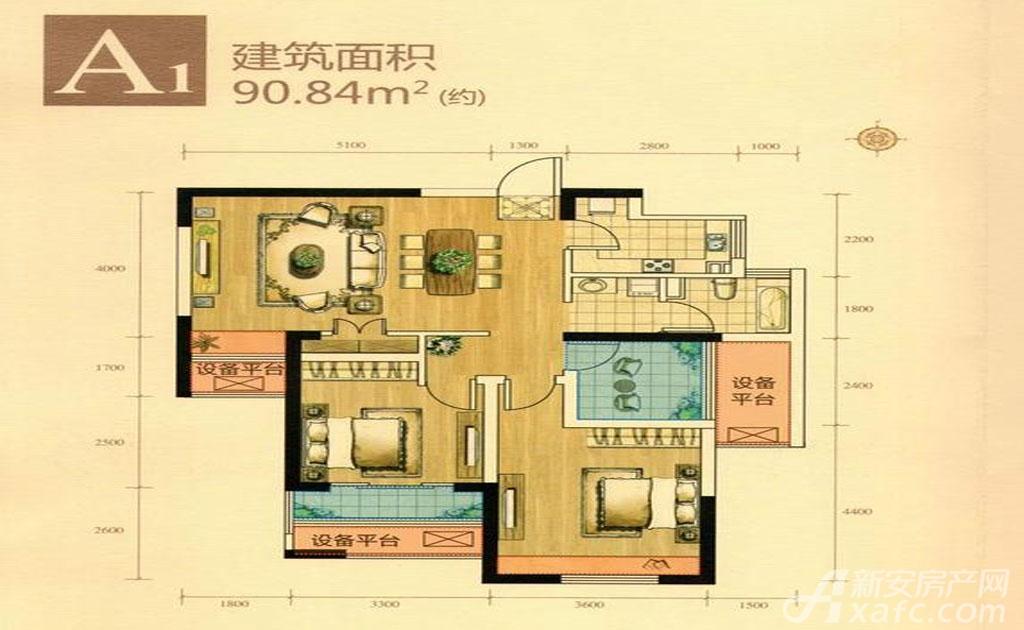 绿地滨江壹号A12室1厅90.84平米