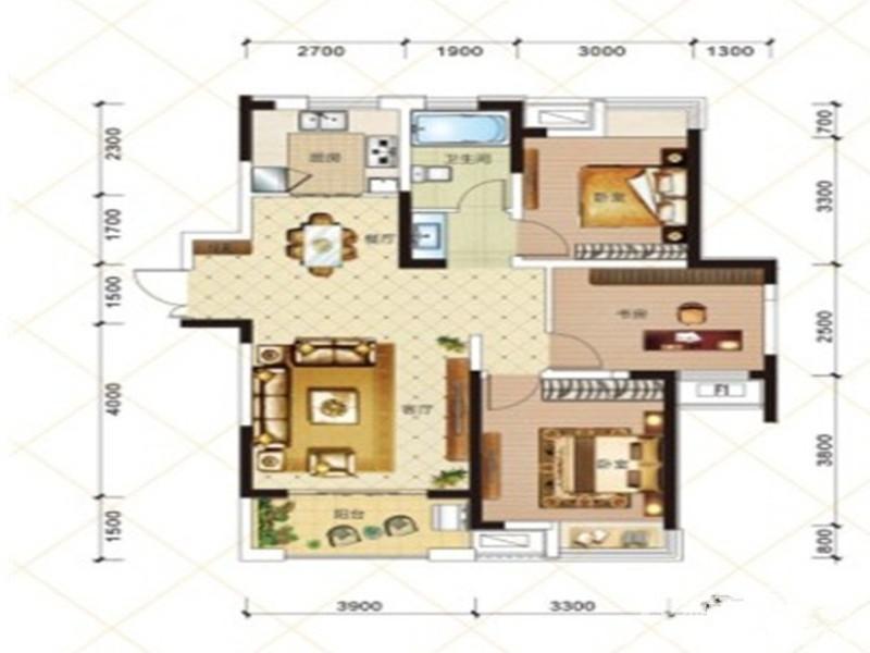 绿地臻城2#15#Q1户型3室1厅103.96平米