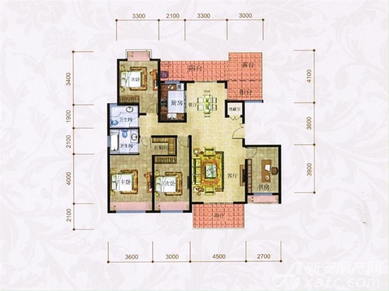 圳秀国际金湖湾H户型4室2厅156平米