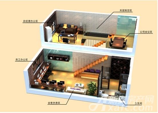 大台北写字楼户型2室2厅45平米