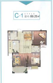 清华嘉园C-1户型2室2厅89.25㎡