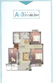 清华嘉园A-3户型3室2厅88.29㎡