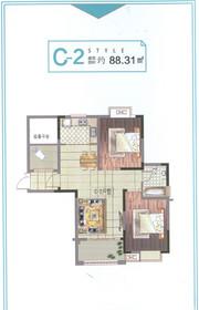 清华嘉园C-2户型3室2厅88.31㎡