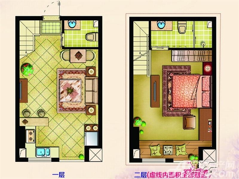 巴黎国际广场1#A户型1室2厅39平米