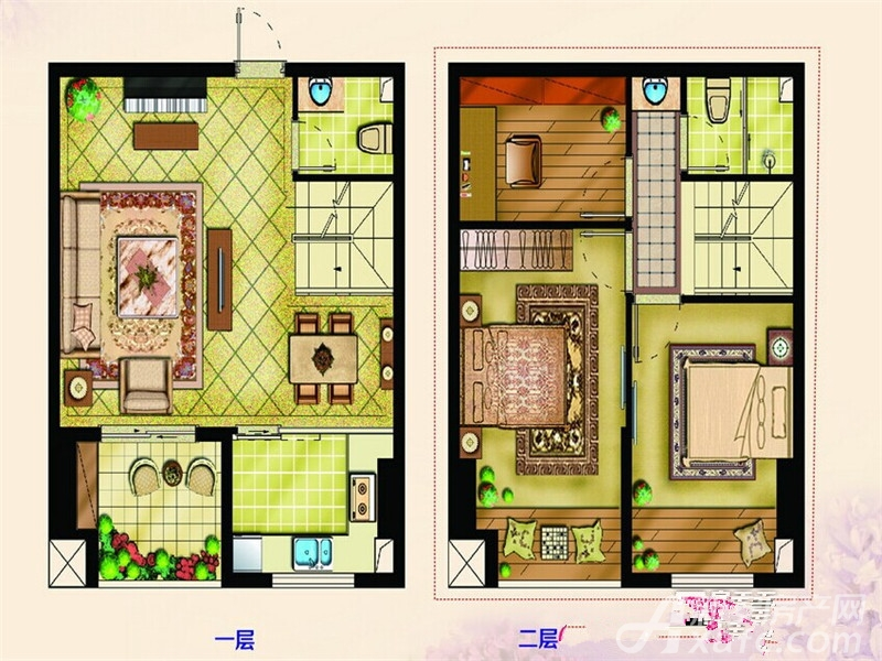 巴黎国际广场1#B户型3室2厅58平米