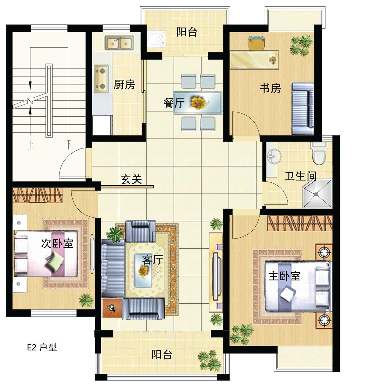 宝厦丽景新城E2 107㎡户型图3室2厅107平米