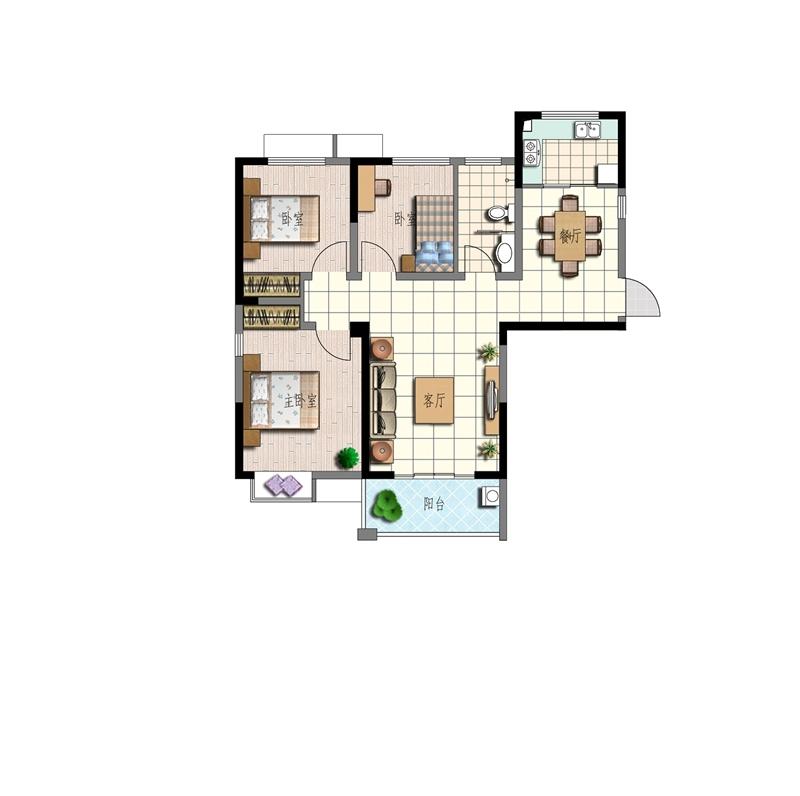 特凿花园A1户型3室2厅99.14平米