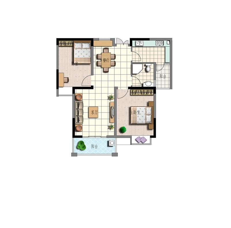 特凿花园B3户型2室2厅86.22平米
