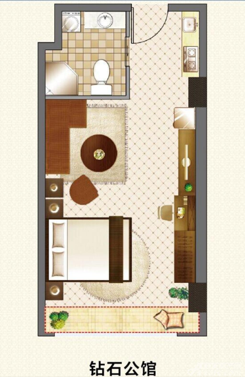 宿州国购广场钻石公馆SOHO户型1室1厅45平米