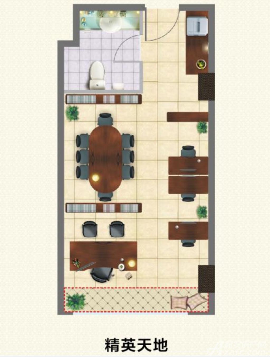 宿州国购广场精英天地SOHO户型1室1厅45平米