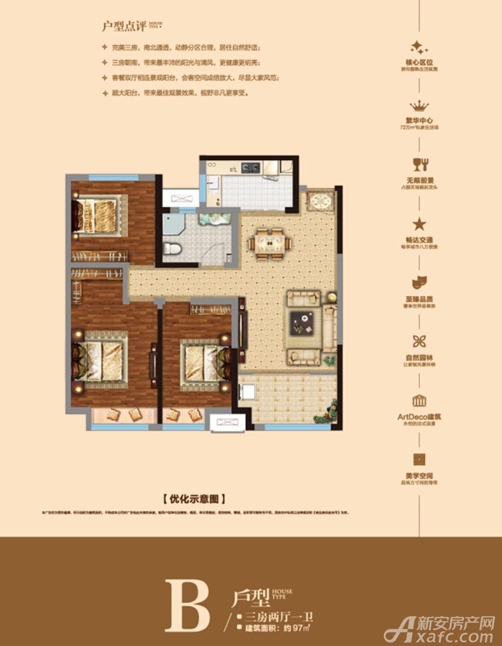 户型简介: 该户型方正,南北通透;双卧室朝南;卫生间干湿分离,l型厨房图片