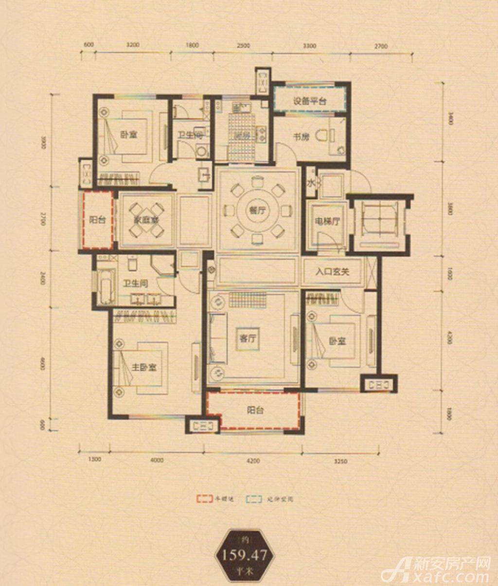 保利西山林语159.47平方米户型5室2厅159.47平米
