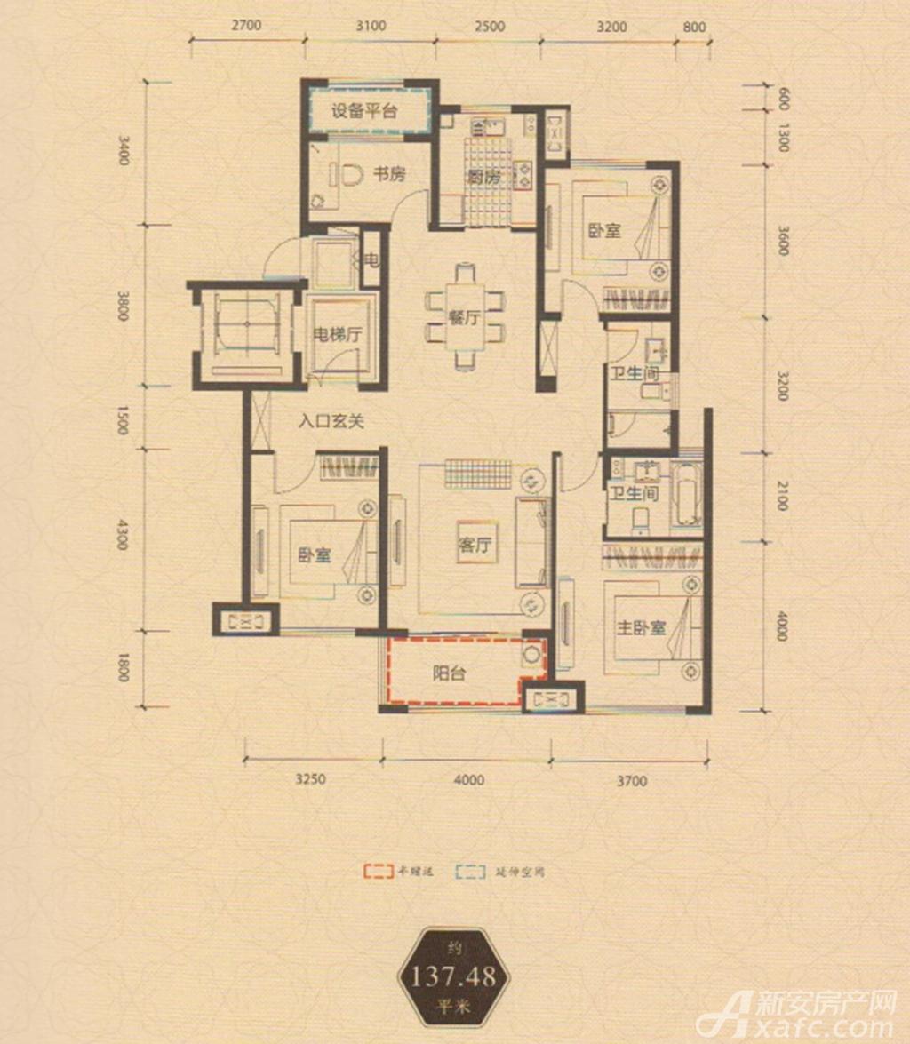 保利西山林语137.48平方米户型3室2厅137.48平米
