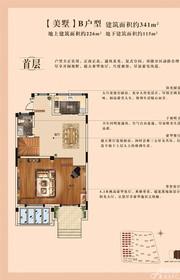 康恒滨湖蓝湾B(首层)户型3室2厅341㎡